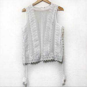 Lace linen Sleeveless peasant blouse